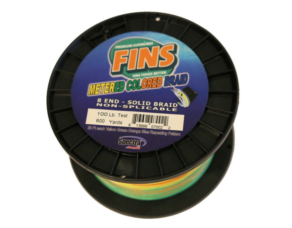 SALE   FINS Meterosso Coloreeosso Braided Line Bulk Spool 600 yards  100lb Test Braid