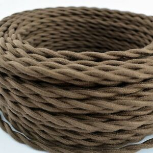 Brown-Cotton-Cloth-Covered-Twisted-Electrical-Wire-Lamp-Cord-Antique-Fan