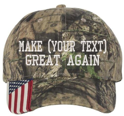 Donal Trump Make America Great Again Embroidered CAMO//USA Hat with YOUR TEXT