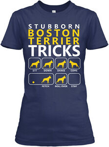 Boston-Terrier-Tricks-stubborn-Gildan-Women-039-s-Tee-T-Shirt