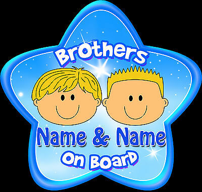 Personalised Brothers ~  Star Shaped Baby On Board Car Sign ~ New Blonde Boys