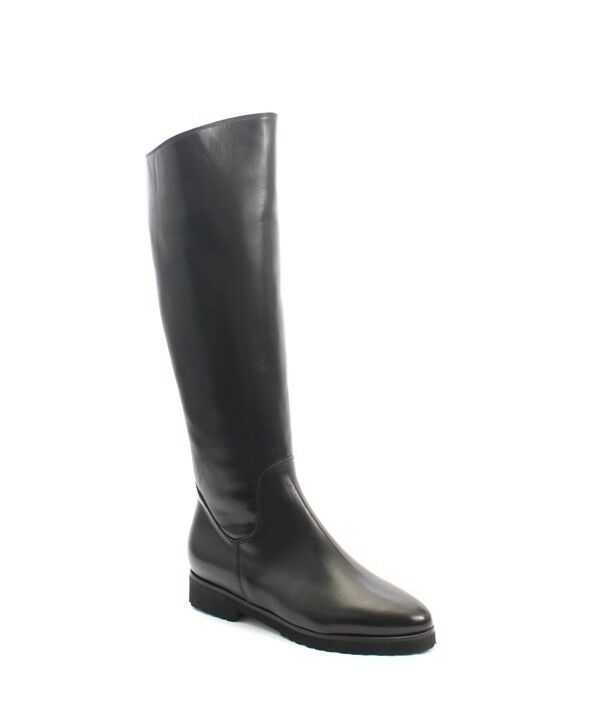 Luca Grossi 512b Black Leather Sheepskin Knee High Pointy Boots 38 / US 8
