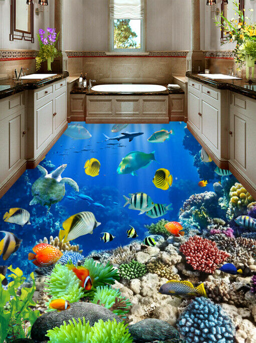 3D Cute Fishs 533  Floor WallPaper Murals Wall Print 5D AJ WALLPAPER UK Lemon