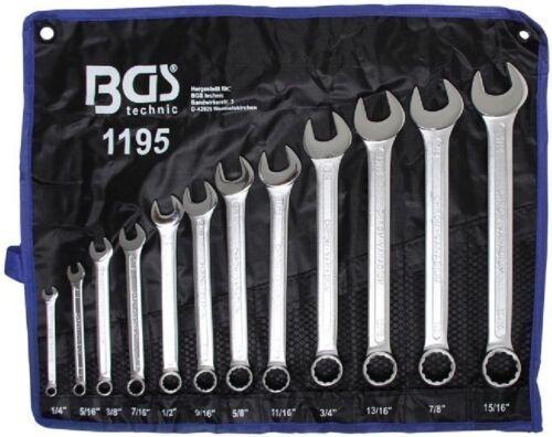"BGS 1195 ZOLL Ringmaulschlüssel Satz 1//4/""-15//16/"" 12 tlg Gabelschlüssel Werkzeug"