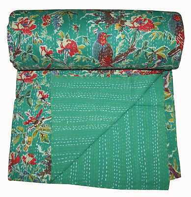 Blue Bird Kantha Quilt Indian Bedspread Blanket Cotton Throw Vintage Ethnic Home