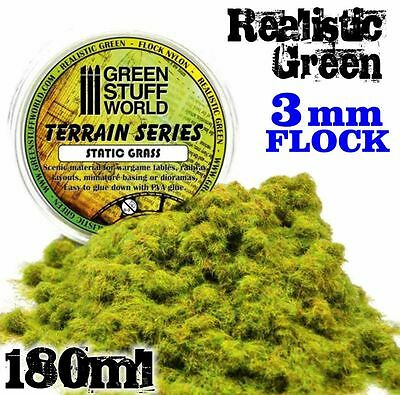 Static Grass Flock 3mm Realistic Green scenery warhammer bases 280 ml