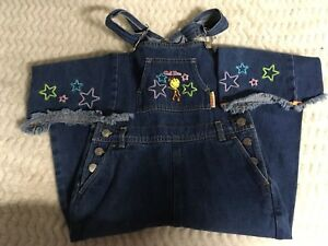 Smiley World Girls Jean Overalls Size 4/5 4 5 Cool Diva Smiley Metal Buttons