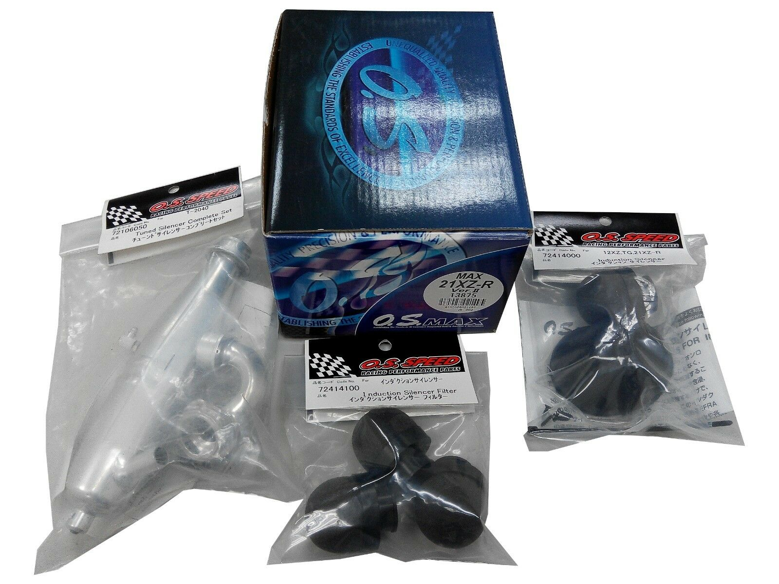 O.S. Engines 13875 21XZ-R + PIPE + INDUCTION SILENCER + FILTER(COMPLETE SET)