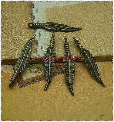 15/50/200pcs 32x7mm Antique Silver/bronze Lovely details feather Charms Pendant
