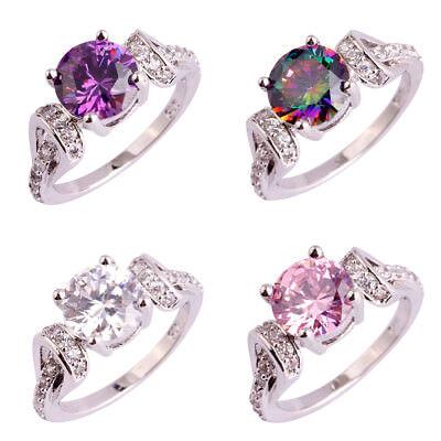 Wedding Rainbow Pink White Topaz & Amethyst Gemstone Silver Ring Size 6 -11 Gift