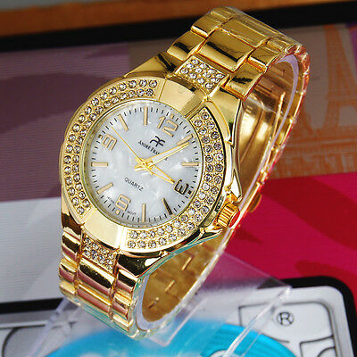 Stylish Lady Gold Diamond Luxury Jewelry Nightclub Quartz Dress Gift Wrist Watch