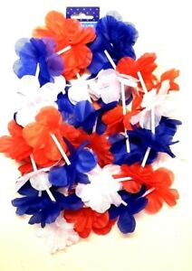 Patriotic-Leis-Red-White-Blue-Silky-Floral-Petals-Party-Accessories-Two-Pack-New