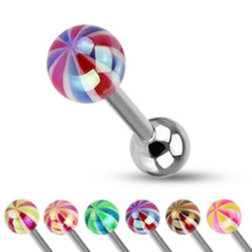 Unisex Tongue Piercing Length 16mm Surgical Steel Lollipop Candy Ball