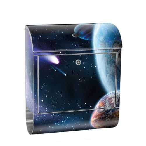 0232 Edelstahlbriefkasten mit Zeitungsrolle /& Motiv Erde Weltraum Planetno