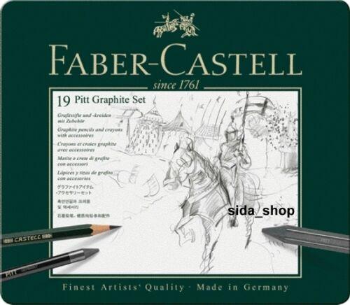 Faber-Castell set pitt Graphite Medium Metal Estuche 19 piezas lápiz estuche neu/&ovp
