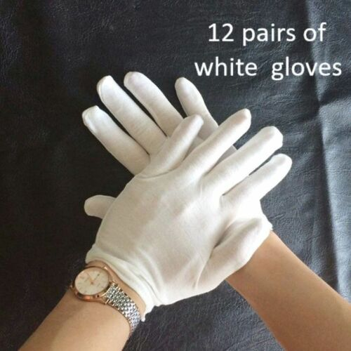 12 Pair White Cotton Gloves Elastic Health Rite Work Hand Protect Useful