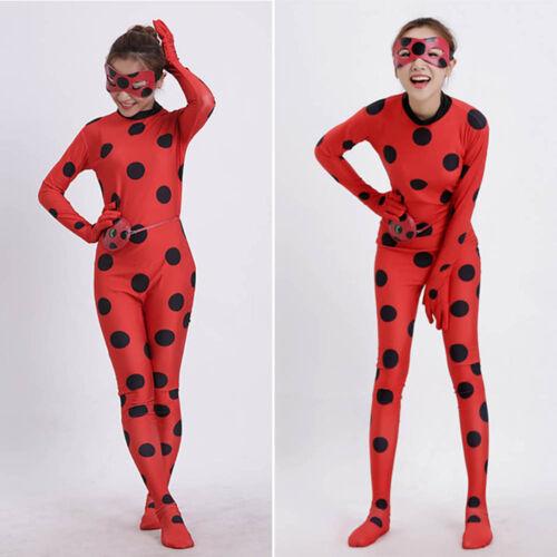 Children Ladybug Marinette Cosplay Costume jumpsuit Bodysuit Party Fancy Dress