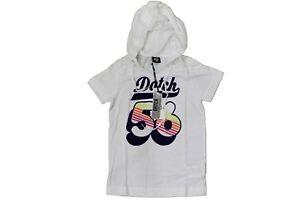 huge selection of 7bb10 33583 Dettagli su T-Shirt da bambino bianca Datch manica corta con cappuccio moda  junior cotone
