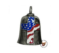 Cross With American Flag Inlay Motorcycle Gremlin Ride Bell Made In Usa