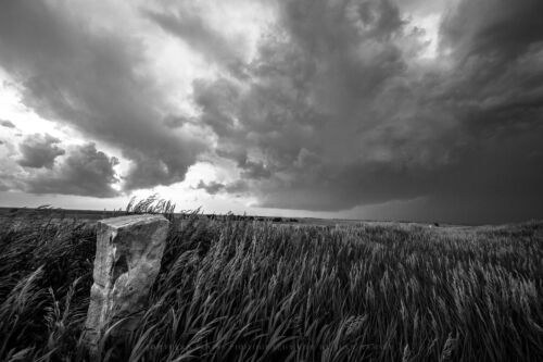 Western Photography Art Print Picture of Old Stone Marker and Storm in Kansas