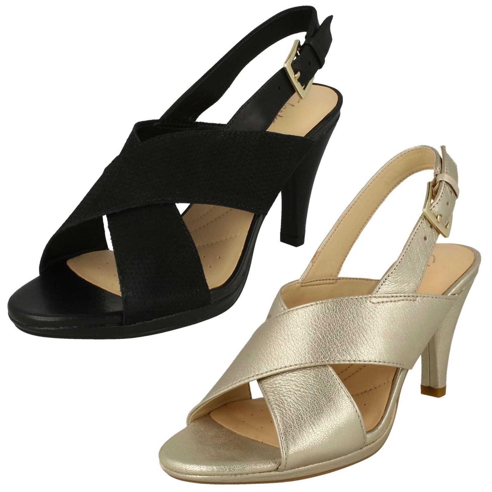 Ladies Clarks Open Toe Slim Heeled Slingback Buckled Leather Sandals Dalia Lotus