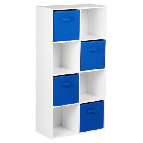 HARTLEYS WHITE 8 CUBE MODULAR SHELVING DISPLAY UNIT 4 x BLUE FABRIC STORAGE BOX