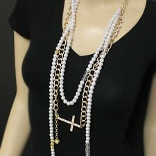 Gold and Pearl Rhinestone Cross Beaded Necklace Set