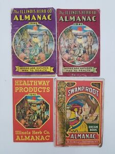 Vintage Illinois Herb Co. (1940, 41, 49) and Swamp Root Almanac (1933) Lot of 4