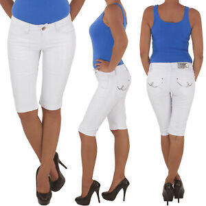 Damen-Capri-3-4-Jeans-Shorts-Bemuda-Kurze-Hueft-Stretch-Hose-Weiss-34-XS-42-XL