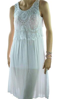 ITALY Bandeau-Kleid Strandkleid Sommerkleid oder Tellerrock 36 38 40 Weiß NEU