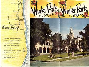 Details about Winter Park Florida Vintage 1950's Travel Brochure Color  Photos Locator Map