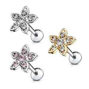 CZ-Set-Flower-Top-Lip-Labret-Conch-Tragus-Daith-Helix-Ear-Cartilage-Studs-16G