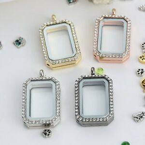 Floating-Memory-Charm-Crystal-Rectangle-Glass-Locket-Chain-DIY-Necklace-Pendant