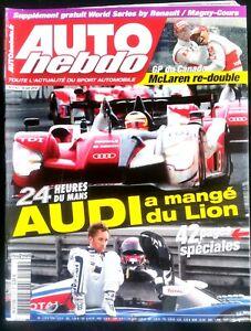 Auto Hebdo Du 16/6/2010; 24 Heures Du Mans; Audi à Mangé Le Lion/ Gp Canada
