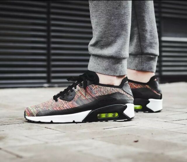9147d3cfbfba5 Nike Air Max 90 Ultra 2.0 Flyknit Mens Shoes Sz 10 Black Rainbow Running