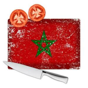 Gift Cutting Board : Morocco Flag Retro Artistic Moroccan Expat Country