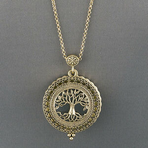 Antique gold chain tree of life magnifying glass locket pendant image is loading antique gold chain tree of life magnifying glass mozeypictures Gallery