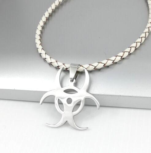 Silver Resident Evil Biohazard Symbole Pendentif 3 mm Marron Tressé En Cuir Collier