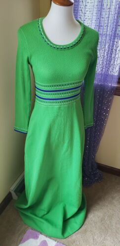 Vintage 60's 70's Lime Green Knit Ribbed Polyester