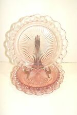 """(2) Pink Depression Old Colony Edge Lace 10 1/4"""" Dinner Plates"""
