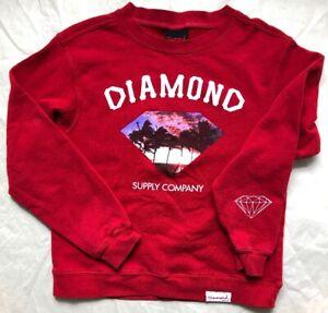 Diamond-Supply-Company-red-sweatshirt-sunset-beach-palm-Sz-Small-no-size-tag