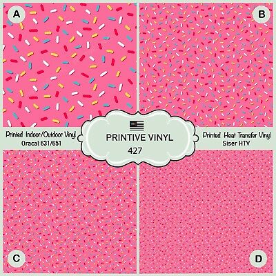 Donut/'s glaze and Sprinkles Pattern Printed HTV Oracal Craft vinyl- 427 Siser