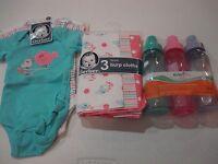 Gerber Newborn Girls 9 Piece Baby Shower Bundle Onesie Burp Cloths Bottles