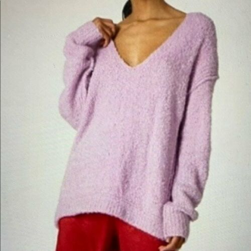 Free People Lofty Boucle Knit Orchid Sweater M