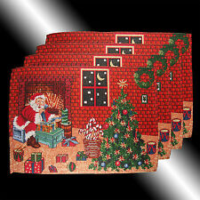 Vintage ChicI Red Christmas Santa Claus Tapesty Table Linnen Placemats 4 pcs/set