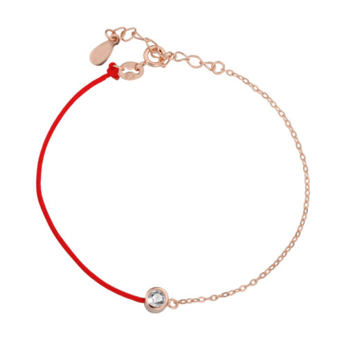 Stunning Solid 925 Sterling Silver RED LINE double chain bracelet Rose Gold
