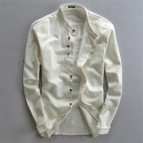 Hommes Chemise à manches longues en coton 100/% T-shirt à col t-shirt hauts tee