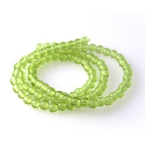 100 Olivine Faceted Czech Glass Round Beads 4MM