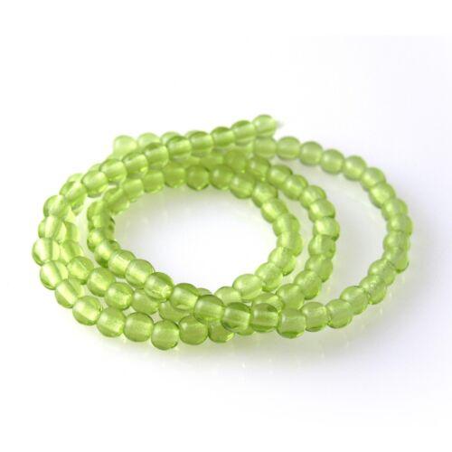 Olivine Green Transparent 100 3mm Round Pressed Czech Glass Druk Beads
