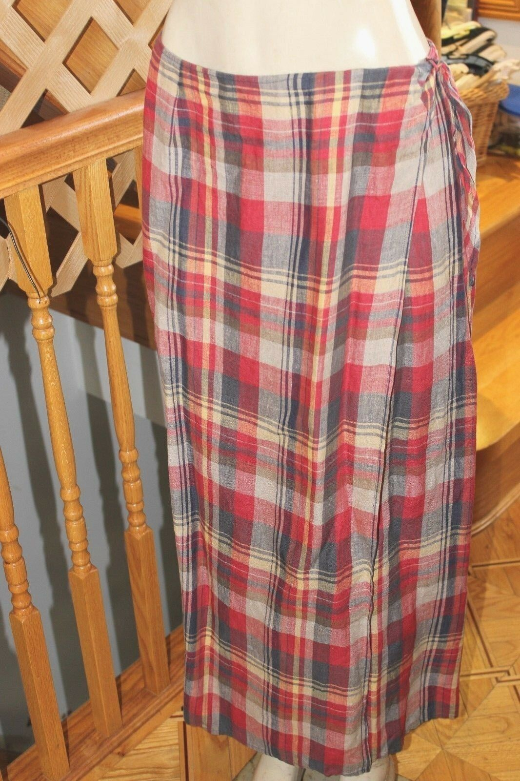 RALPH LAUREN 100%-LINEN  WRAP PLAID LADIES SKIRT SIZE 10